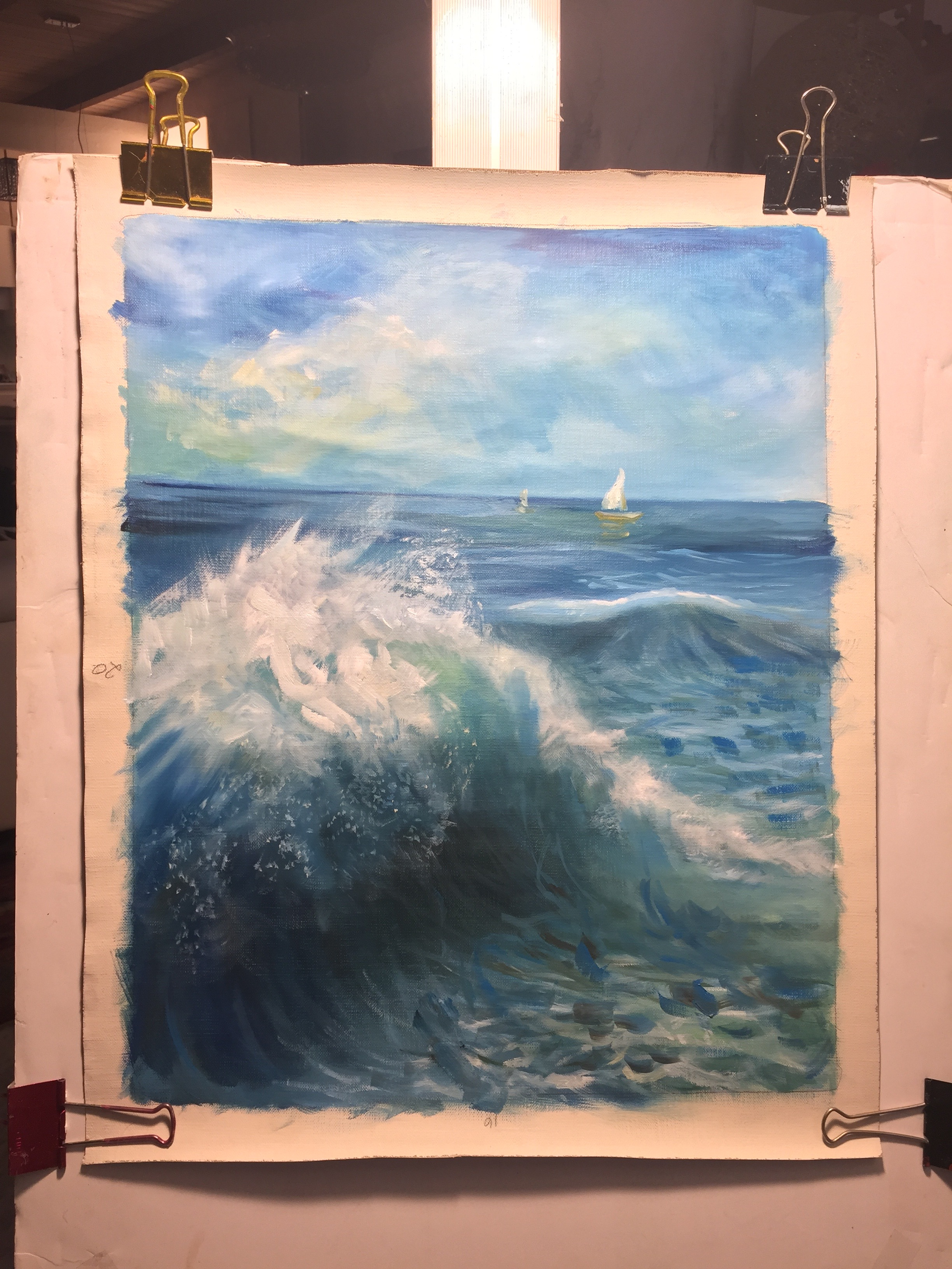 Ocean and the Waves<br /> <br /> 油絵・Oil on Canvas