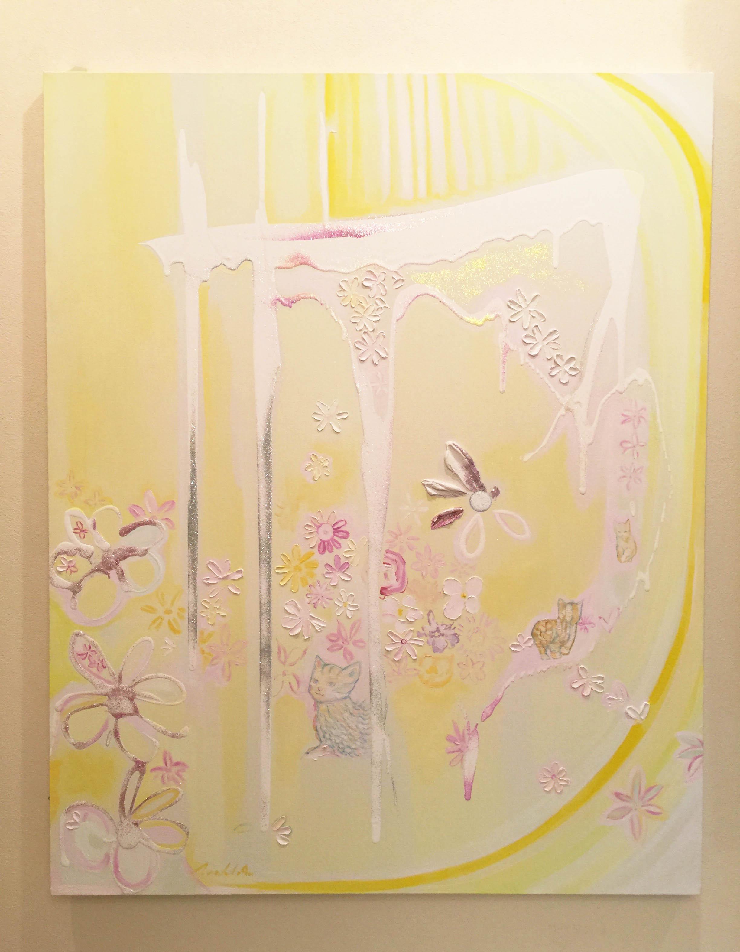 出会いという名の奇跡 - Road to the Enlightenment (100 × 80 cm)<br /> <br /> <ミックスメディア・アクリル・ラメ・油絵><br /> <Mixed Media・Acrlyics・Glitters・Oils>