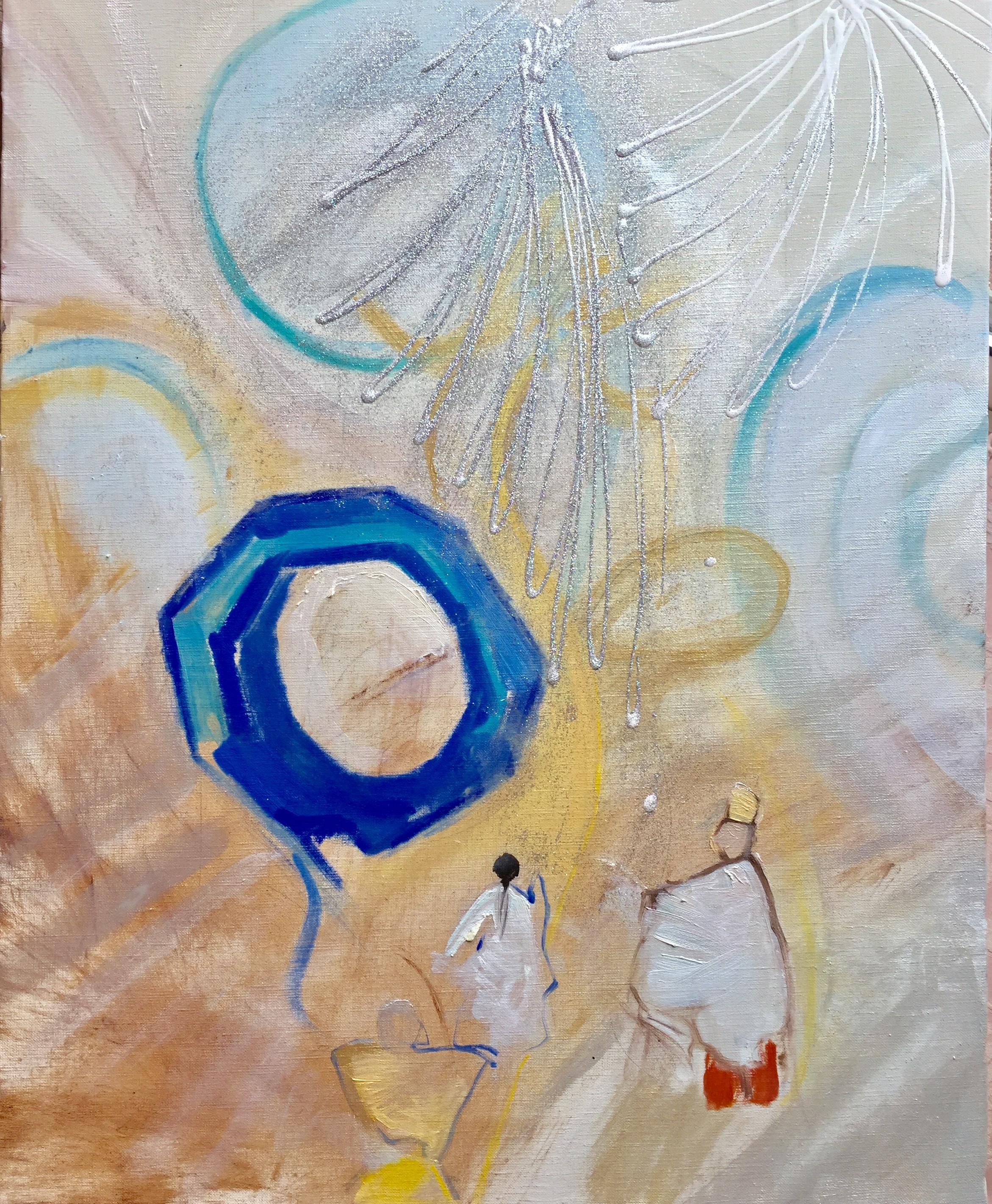 神殿での対話 (66 × 53 cm)<br /> <br /> <ミックスメディア・アクリル・ラメ><br /> <Mixed Media・Acrlyics・Glitters>